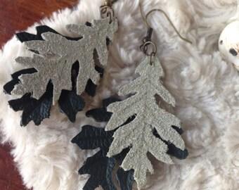 Leather Oak leaf earrings, Handcrafted leather earrings, suede earrings