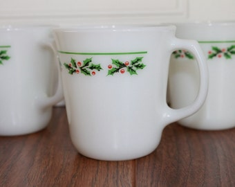 Vintage Holly Berry Milk Glass Coffee Cup, Set of 4, Christmas Coffee Mug, Corning