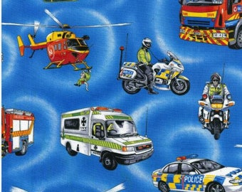 Emergency in Royal by Nutex  #88110 102 quilting patchwork crafting interiors fabric 100% cotton police car, ambulance, rescue, motorbike