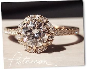 Rose Gold Engagement Ring - Diamond Simulant Engagement Ring Vintage Wedding Ring - Gold Ring - CZ Ring - Solitaire Gold Engagement Ring