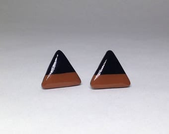 Polymer Clay Triangle Studs - Brown & Black
