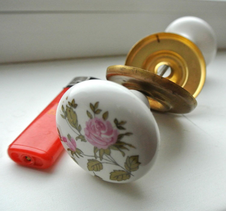 Vintage Ceramic Door Knobs Set Vintage Porcelain Door Handles