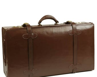 "Exclusive Retro Style 28"" Leather Suitcase Brown"
