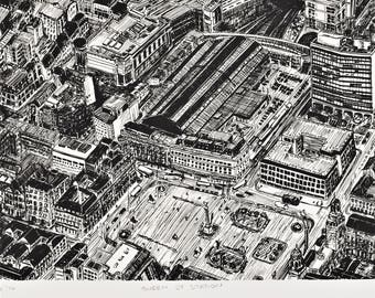 """Black and white, hand pulled limited edition screen print. """"Queen St Station"""" Pen and ink drawing, Glasgow map drawing, Scotland street view"""