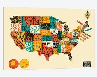 Usa Map Print Etsy - States map of usa