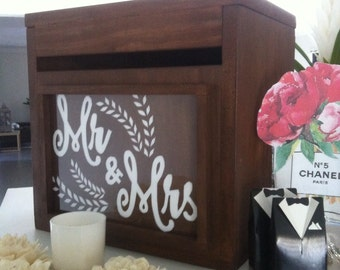 Decorative Wooden with Acrylic Front WISHING WELL Wedding Engagement Card Box...