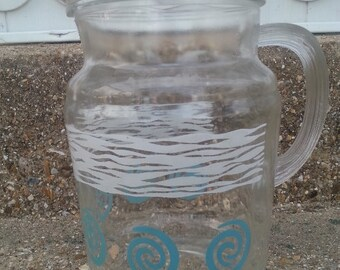 Vintage Glass Pitcher White Wave and Turquoise Swirl Pattern