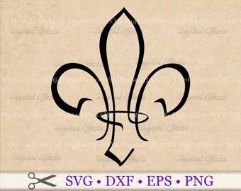 Fleur de Lis  SVG File, Stylized Fleur de Lis Svg, Png, Dfx, Eps, Saints Svg, French Svg, Mardi Gras Svg Clipart, Cricut, Silhouette Files