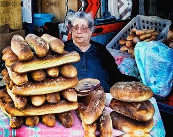 Bread Shop, Bread Lady, Bread Stall, Sicily Sights, Just Baked Bread, Catania Market, Daily Market, Sicily Wall Decor