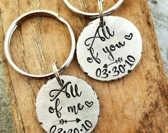 Personalized hand stamped MATCHING SET couples keychains Custom valentines day gift. Personalized anniversary gift for her. Girlfriend gift.