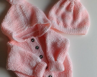 Knitted baby sweater + Hat