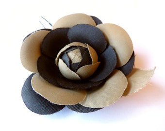 Vintage brown rose with leave. 1970s - vintage millinery - hat trim - bouquet - fabric rose - vintage rose -