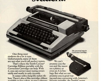"1978 Smith Corona typewriter vintage magazine ad ""For the less than perfect student "" (1703)"