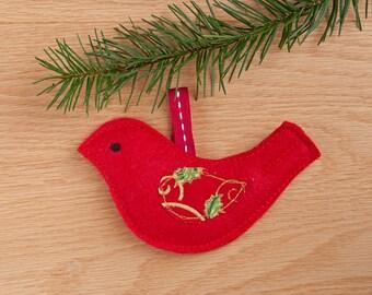 Red Felt Hanging Bird Christmas Decoration