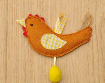 Soft Felt Easter Hens with needle felted eggs hanging decoration