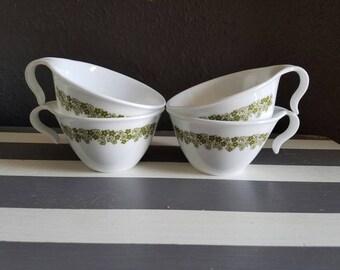 Vintage Corelle Corning Warehouse. Green Daisy Corelle Tea Cup. Vintage Tea Cups. Spring Blossom.