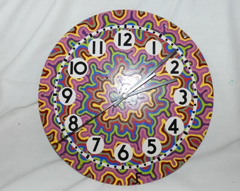 Groovy Psychedelic Hand Painted Clock using Vintage metal clock face - re-imagined and signed by the artist -Quartz Movement - OOAK Art W-L1