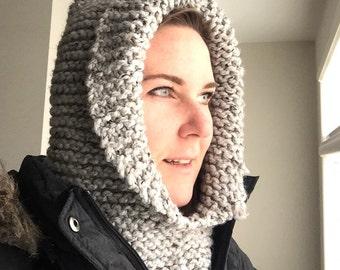 Knitted cowl hood, scarf, chunky knit hood, winter hat scarf, warm hoodie, men or women