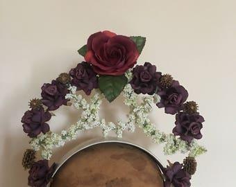 Flower Crown - Plum & Ivory Fascinator