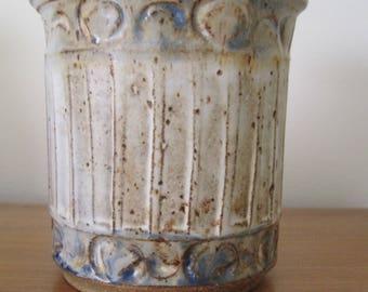 """Seidel Stoneware Pottery Vase, Neutral Tones, Diameter 4.75"""",Height 5"""", 1981, Vintage"""