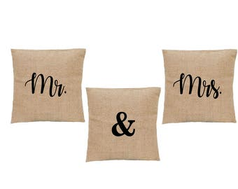 Mr and Mrs faux burlap pillows. Mr & Mrs with AND sign pillow set or separate. Married or Newly Wed throw pillows. Burlap Wedding decor