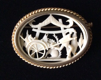 """Despose France Carved Celluloid Pin 2.25""""-1930"""