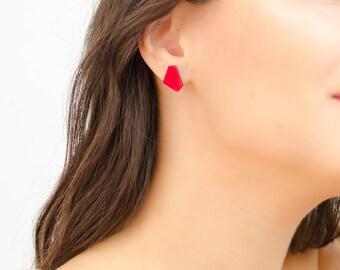 Red stud earrings, Red earrings simple, Fashion jewelry, Geometric earrings, Red jewelry, Contemporary earrings minimalist, Modern earrings
