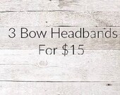 3FOR15 - Faux Leather Bow Headbands
