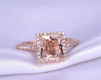 Princess Cut Morganite Engagement Ring Natural Morganite Thin Diamond Wedding Band Bridal Ring Solid 14K Rose Gold Bridal Ring Anniversary