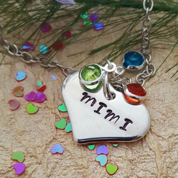 Custom Grandma Birthstone Necklace, Gift for MIMI, Mimi Gift, Personalized Birthstone Heart Charm Jewelry, Gift for Mother Wife New Mom