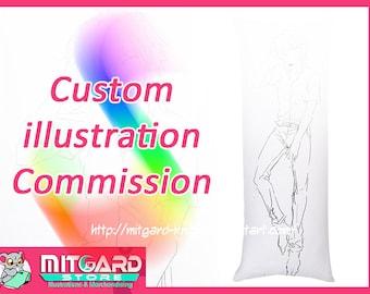 Limit Stock! Custom Illustration commission - Dakimakura body pillow anime