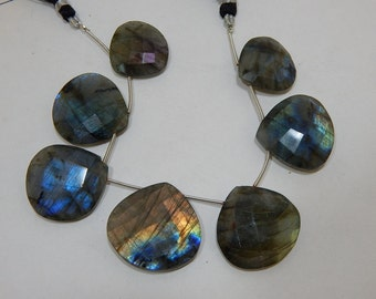 Gemstone Labradorite Faceted Beads Heart Shape 23x23 To 31x31 mm Approx Good Quality