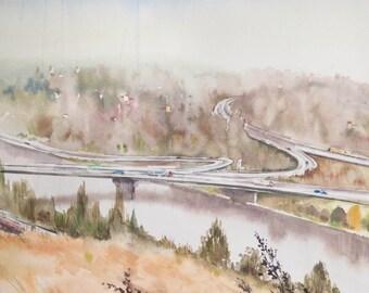 Highway. Prague Painting, Watercolor Art, Landscape, Modern Art, Modern Watercolor, Realism Art, Print Art, Wall Print, Print For Interior