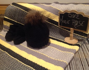 Yellow grey black baby with paws, Cap apompon fur recycled soft blanket
