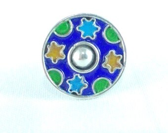 Berber silver ring with enamelled glass