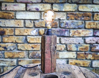 Table Lamp Handmade from Reclaimed Wood with Vintage Bulb MB075