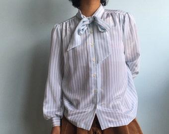 Vintage sz S baby blue striped blouse