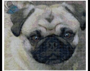 Pug Cross Stitch Pattern - Dog Cross Stitch - Pug - Puppy - Dog - PDF Download