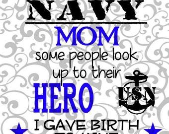 Navy Mom, SVG cut file.