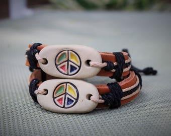Peace bracelet | Hippie bracelet | Leather adjustable bracelet | Leather peace bracelet | Adjustable bracelet | Tan Peace bracelet