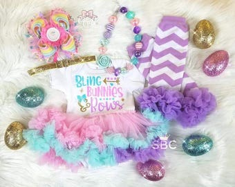 Bling Bunnies and Bows Baby Girl Toddler Easter Outfit Romper Tutu Onesie