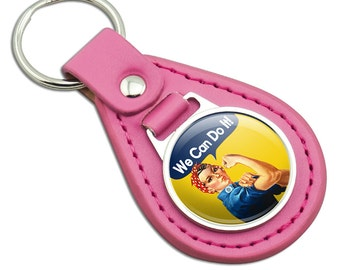Rosie The Riveter We Can Do It Pink Leather Metal Keychain Key Ring