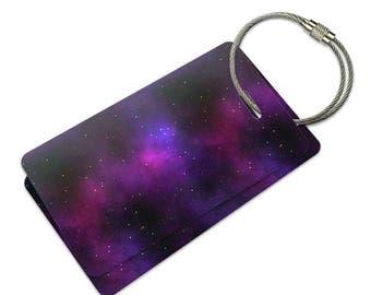 Purple Space Nebula Suitcase Bag Id Luggage Tag Set