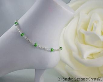 Green Wonder Bead Ankle Bracelet, Green Ankle Bracelet, Ankle Bracelet, Anklet