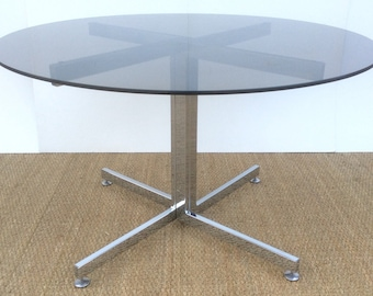 PIEFF Circular Glass top Dining Table with Chrome Base 1970's
