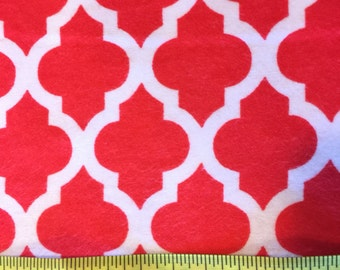 Red Morroccan Tile Fabric Flannel by the Yard - Red Quatrefoil Flannels Yardage White Cotton Fabric - Moroccan Tile