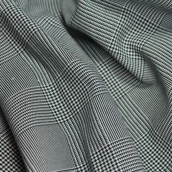 Green Houndstooth Plaid Suiting Fabric, Dark Green Medium