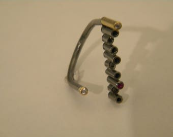 handcrafted contemporary silver gold 18k ruby-diamonds ring