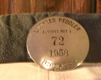 1950's Licensed Peddler Button - Free Shipping