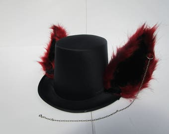 Red & Black With Chain Furry Tophat